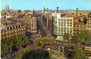 Barcelona 584 Calle Pelayo Plaza Universidad  Foto J Ubach Puig ektacrom años 60? , 2 €