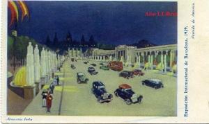 Barcelona Exposición Internacional de Barcelona 1929 Avenida de América  Dibujo. Ed. Almacenes Jorba Huecograbado color  Barcelona 20 €