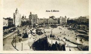 Barcelona La Plaza de Cataluña Navigazione Generale Italiana exposición Internacional de Barcelona 1929. Ed Bestetti & Tumminelli Milano/ Roma  sepia con ventanilla 16 €