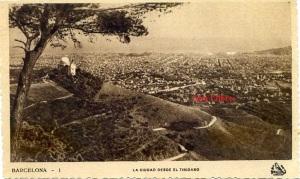 Barcelona 1 La ciudad desde el Tibidabo ed. Oriol color sepia amb ventanilla principis segle XX 7 €