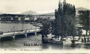 Postal  Genéve 10 L'Ille Rousseau et le Mont-Blanc Ed. Lévy Fils et Cir Paris  s/f (principios siglo XX) 12 €