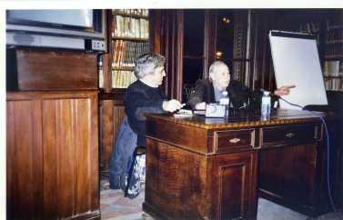 Manel Aisa Con Abel Paz en la Biblioteca Arús presentando uno de sus últimos libros