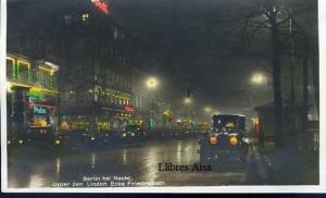 Berlin bei Nacht Unter den Linden Ecke Friedrichstr. Con Ventamilla Amag 55  postal Coloreada 9 €