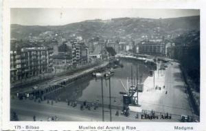 Bilbao 175 Muelles del Arenal y Ripa. Ed. Madyma s/f (años 50) con ventanilla 4 €