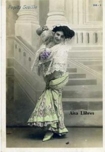Pepita Sevilla  nº 208- 4 escrita al dorso y fechada en Barcelona 12-11-1911 sello Alfonso XIII 10 cts  7 €