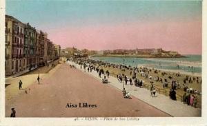 Gijón 48 Playa de San Lorenzo ed. L Roisin fot. Barcelona s/f  principios siglo XX a color con ventanilla 30 €