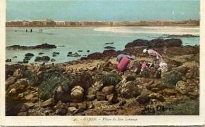 Gijón 46  Playa de San Lorenzo ed. L Roisin fot. Barcelona s/f  principios siglo XX a color con ventanilla 30 €
