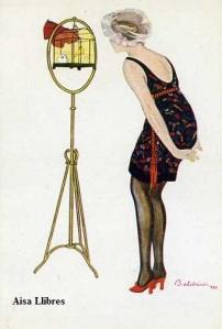 Núm 919 R Baldrich (Mujer mirando un periquito en gavia)  Ediciones Victoria N Coll Salieti Barcelona  s/f (principios siglo XX) 8 €