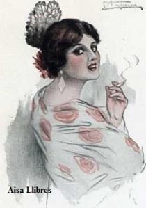 569 Tipo español  A García Gutiérrez(Mujer fumando con Mantilla y peineta) Ediciones Victoria N Coll Salieti Barcelona s/f (principios siglo XX) 8 €