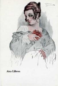 568 Tipo español  A García Gutiérrez(Mujer con Mantilla y flor) Ediciones Victoria N Coll Salieti Barcelona s/f (principios siglo XX) 8 €