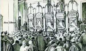 Serie B núm 8 El primer sorteo de irradiación celebrado en España Dibujo de Picolo 1888 Dirección General de Tributos especiales FNMT Madrid s/f (años 60)  6 €