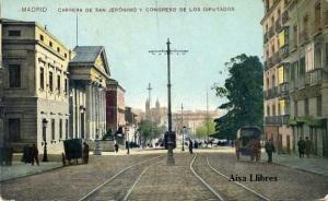 Postal Madrid Carrera de San Jerónimo y Congreso de los Diputados s/f (Siglo XIX) a color 37 € (S-23)