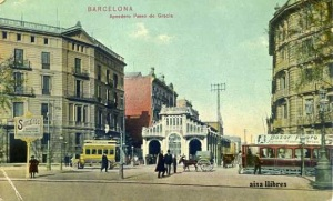 Barcelona Apeadero Paseo de Gracia Dr. Trenkler Co., Leipozig  1908 , 36. Nº 53637 a color s/f Principios siglo XX una esquina con una pequeña rozadura 12 €