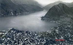 Lugano (Suiza) Col. Monte S Salvatore Veduta Aerea nº 3150.  Swussair Photo AG Zürich Escrita al dorso  años 50?  6 €