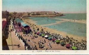 Gijón 43 Playa de San Lorenzo ed. L. Roisin fot. Barcelona s/f principios siglo XX a color con ventanilla 30 €