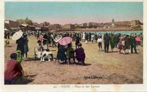 Gijón 42 Playa de San Lorenzo ed. L. Roisin fot. Barcelona s/f principios siglo XX a color con ventanilla 30 €