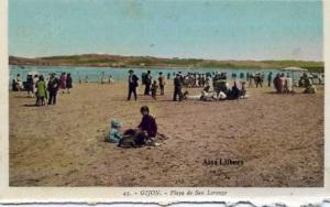 Gijón 45  Playa de San Lorenzo ed. L. Roisin fot. Barcelona s/f principios siglo XX a color con ventanilla 30 €