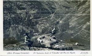 Uria (Pirineo Oriental ) El Santuario,  desde el –Telesilla- del Pico de Aguilas fotográfica con ventanilla fechada en el dorso 8 -12-1952,  12 €