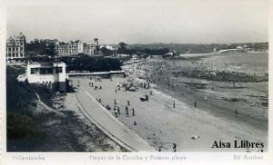 Santander nº 71 Playas de la Concha y Primera Playa Ed. Arribas Blanco y Negro con ventanilla fechada a lápiz 18-9-1950,  9 €