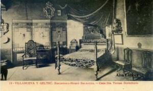 Villanueva y Geltrú Barcelona Biblioteca  Museo Balaguer Casa Sta Teresa Dormitorio. Fototipia Thomas Barcelona  s/f años 20? ,  8 €