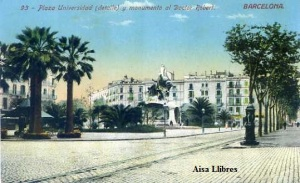 Barcelona nº93 Plaza Universidad (detalle) y monumento al Doctor Robert. Ed Jorge Venini Serie Standard Barcelona principios siglo XX. 25 €