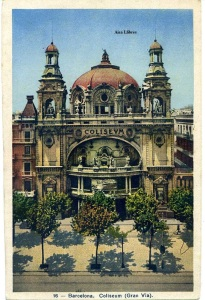 Postal Barcelona 16 Coliseum (Gran Vía) ed. HAE color s/d. años 40? 12 €