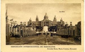 Postal Barcelona exposición Internacional de Barcelona Avenida Reina María Cristina (Entrada)  Patronato Nacional del Turismo  1929  en el dorso Hace diversas preguntar a los visitantes 12 €