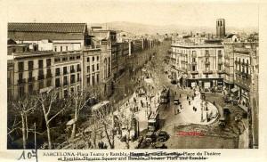 Barcelona Plaza del Teatro  L Roisin fot Barcelona   Maca registrada 53425 s/f anys 20? 13 €
