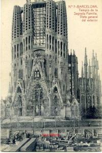 Barcelona nº 7  Templo de la Sagrada Familia vista general del exterior. Herederos vda. Plá Barcelona J Thomas.  s/f Principios siglo XX?  15 €