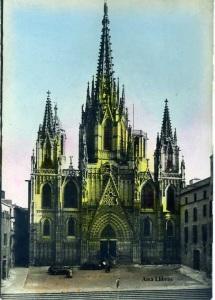 Barcelona Fachada de la Catedral pintada coloreada s/d (años 40?) 10 €