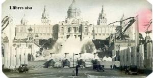 Barcelona Exposición  Universal 1929 escrita al dorso recortada por los cuatro cantos  fuentes Palacio Nacional  3 €