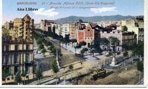 Barcelona nº 37 Avenida Alfonso XIII (Gran Vía Diagonal) Ed Jorge Venini Barcelona s/f (años 20) color con ventanilla 8 €