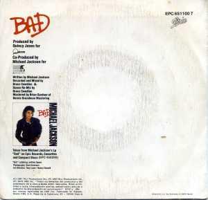 Michael Jackson  Bad  1987   Vinilo 45  8 € dorso