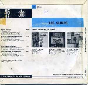 les Surfs Cada Noche  Nunca alcanzarás el cielo  1964... Vinilo 45   6 € dorso