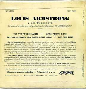 Louis Armstrong  The five pennies saints  Vinilo 45 , 8 €  dorso