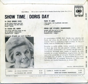 Doris Day Show Time  la calle donde vives, 1962 vinilo 45,    6 € dorso