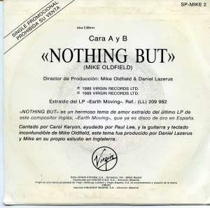 "Mike OLdfield ""Nothing But""  1989  vinilo 45 9 €  dorso"