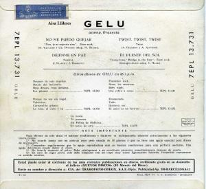 Gelu No me puedo quejar  1962 , vinilo 45 10 € dorso