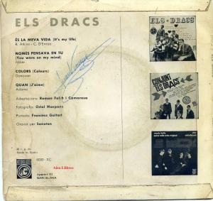 Els Dracs Vinilo 45 Nomes pensava en tu, Colors , es la meva vida, Quan, en català 1968 14 € dorso
