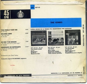 The Kinks  vinilo 45  You Really got me Dejame Libre De Día y de noche Cansado de esperarte 1965 ,  23 €  dorso