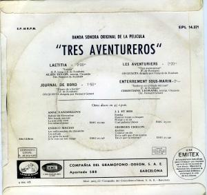 Alain Delon  Chante Laetitia sur un théme du film Les Aventuriers  1967 vinilo 45,  12 € dorso