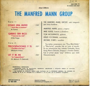 Manfred Mann  Just Like a Woman  1966 20 €  dorso vinilo  45