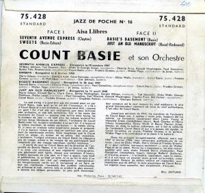 Count Basie et son orchestre  Jazz de poche nº 16  Paris 1962  vinilo 45   dorso 15 €