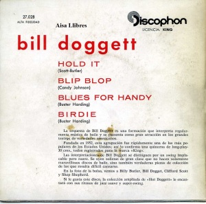 Bill doggett  Blues for Handy  Hold It 1961 vinilo 45  , 18 € dorso
