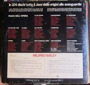 I grandi del Jaz Mildred Bailey di Marcello Piras  50 € dorso editado en Milano