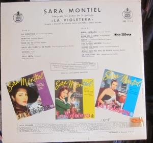 Sara Montiel  Interpreta las canciones de la película  La Violetera  25 € dorso