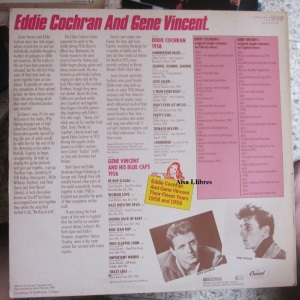 Eddie Cochran... And Gene  Vincent their Finest Years 1958 and 1956  1980 Holland  12 € (dorso)