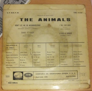 The animals is Here vinilo 45 don't  let me  misunderstood   1965  30 €  (dorso)