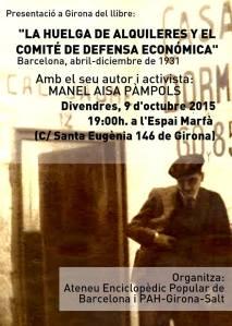 Cartell de la presentació a Girona amb la PAH de Girona Salt 9 d' octubre de 2015