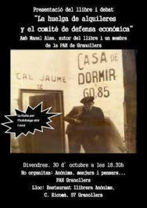 Presentació LLibre Huelga de alquileres y el comité de defensa económica Barcelona 1931 a Granollers restaurant Anònims